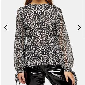 Topshop Black and White Print Sheer Sleeve Top